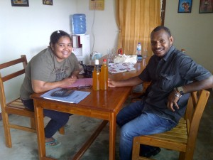 Collegue Cyntia with Gersan Wetapo
